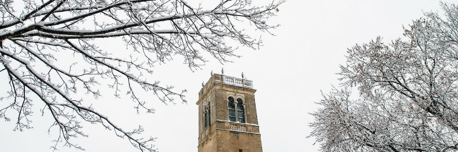 the carillon tower covered in snow, with trees on either side
